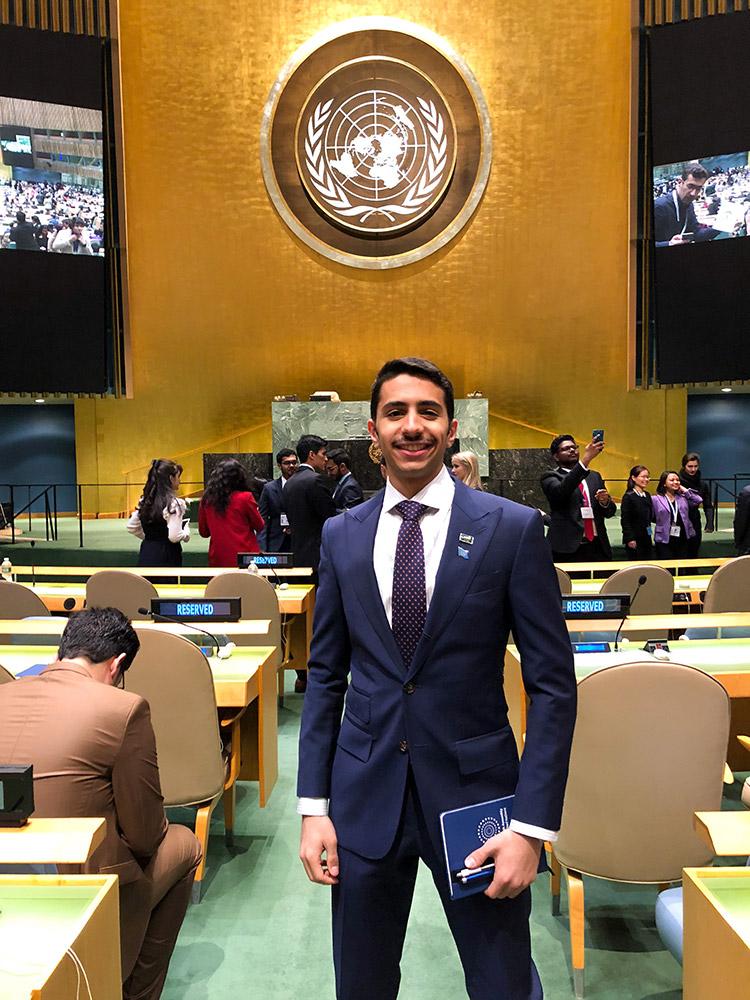 Majed Alqatari attends the UN Youth Assembly in New York, New York, February 2018. Photo courtesy Majed Alqatari