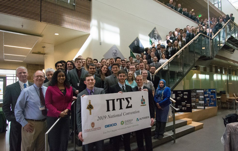 Pi Tau Sigma members photographed on the Scott staircase at the 98th annual Pi Tau Sigma national convention, February 15-16, 2019.
