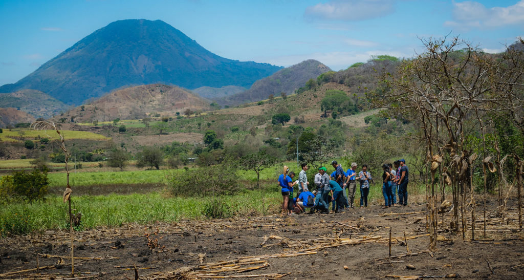 Students from Santa Ana National University brought surveying equipment to Las Tablas and collaborated with the travel team from Rams Without Borders to survey the potential well site. Photo Credit: Platt Photography