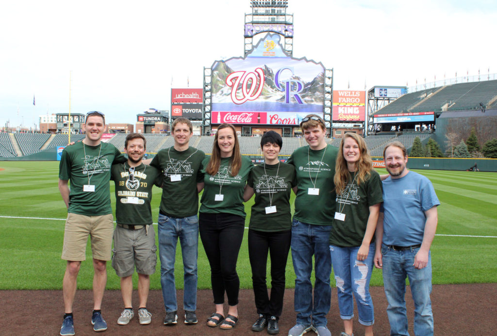 Department of Atmospheric Science graduate students and Colorado Climate Center coordinator Noah Newman, right, represented CSU at Weather and Science Day, April 24 at Coors Field. From left, Ryan Gonzalez, Kyle Chudler, Rick Schulte, Faith Groff, Jennie Bukowski, Sean Freeman and Kristen Tucker.