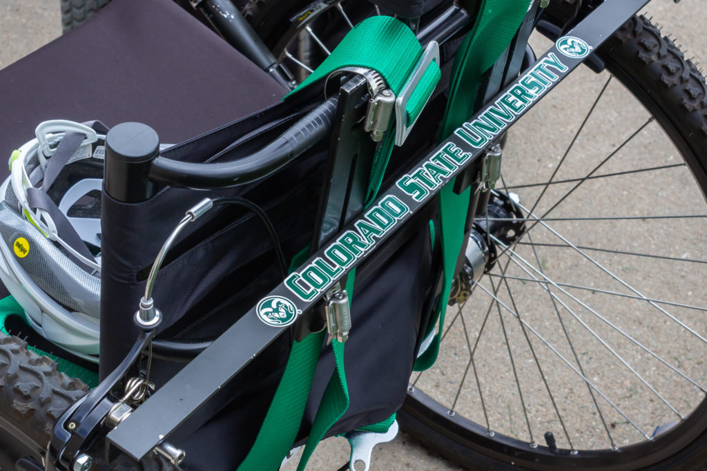 2019 CSU Mechanical Engineering graduates put a CSU sticker on their modified chair for Roche.