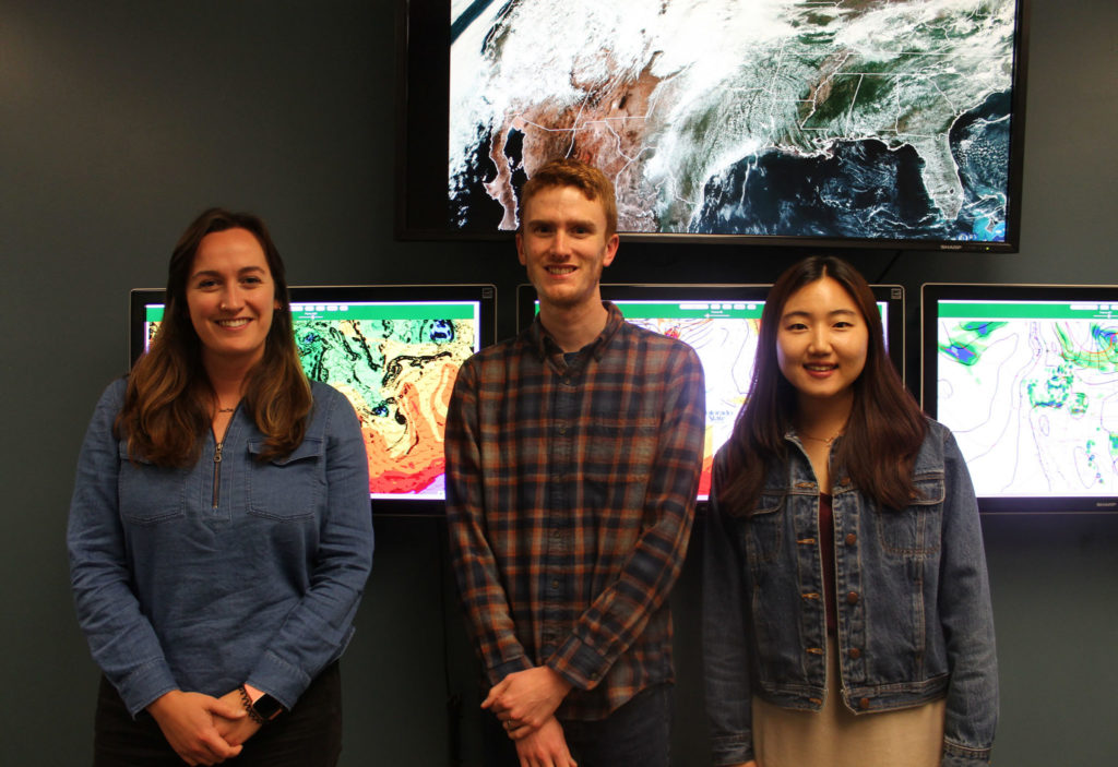 From left, Faith Groff, Sam Childs and Chelsea Nam will participate in NCAR's Advanced Study Program colloquium this summer.