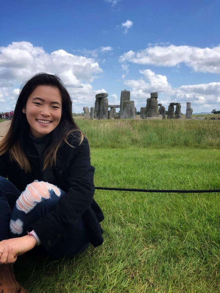 Christina Chang sightseeing at prehistoric monument, Stonehenge, located in Wiltshire, England.