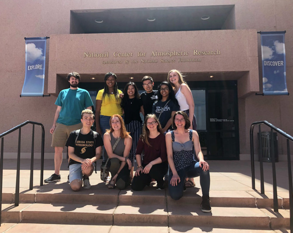 Atmospheric science REU students visit the National Center for Atmospheric Research, an NSF-funded lab, to learn about its research. Front row, from left to right, Justin Stow, Abby Stokes, Charlotte Connolly and Elana Cope; back row, left to right, Richard Garmong, Jaime Anderson, Alex Ng, Brandon Molina, Erin Sherman and Emily Lill.