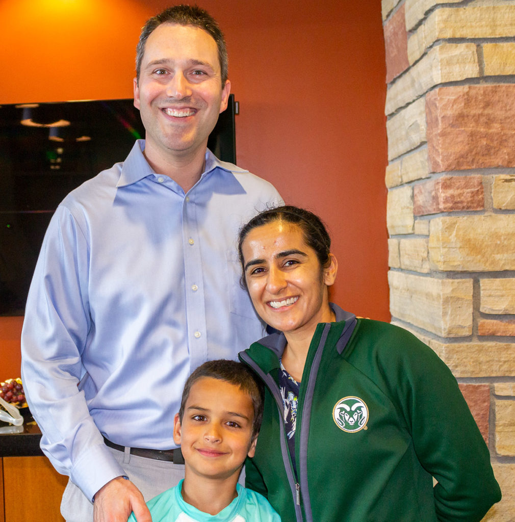 Chemical engineering Professor Christopher Snow, his wife Susheela Mallipudi and their son, Alex