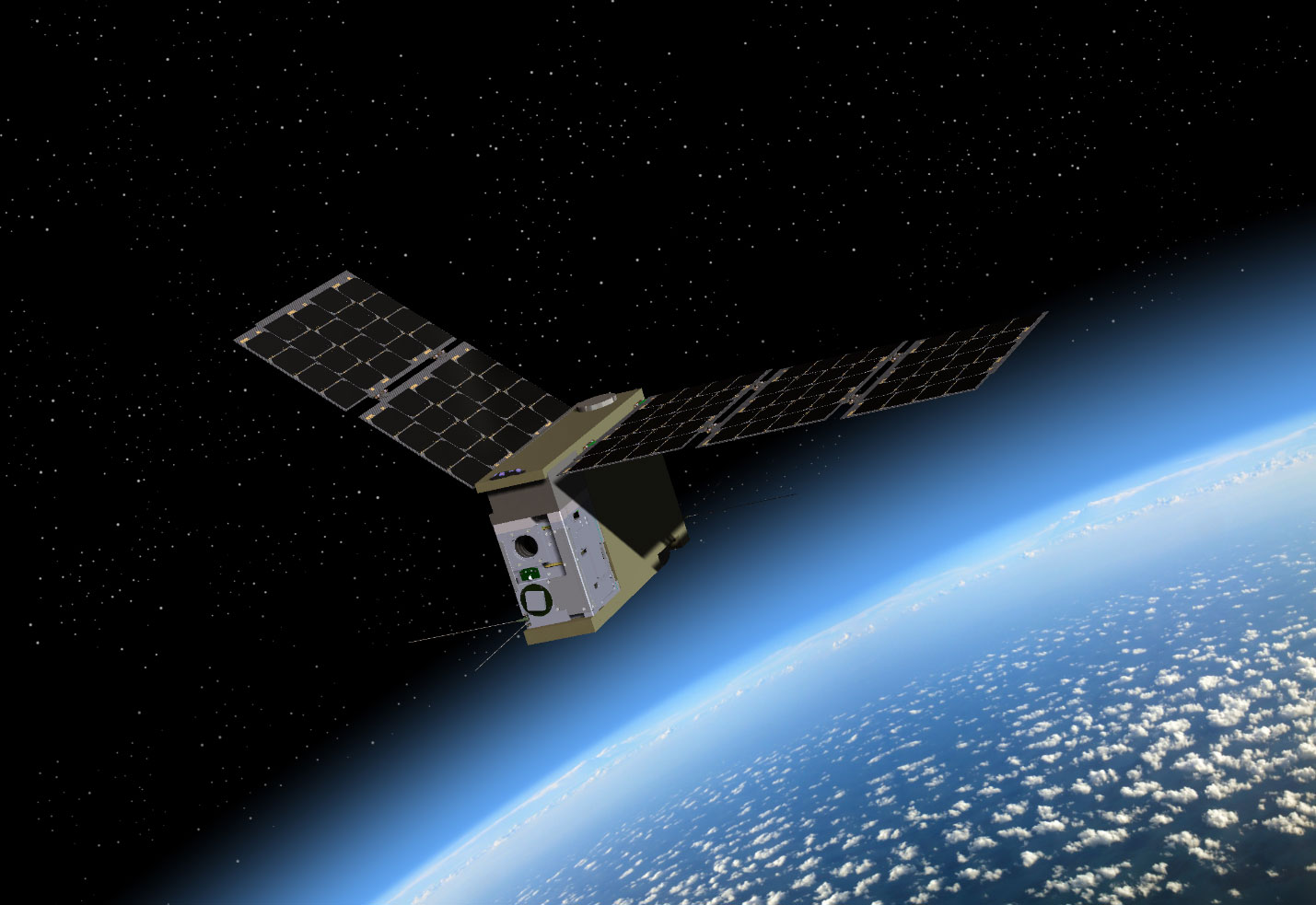Artist's rendering of TEMPEST-D satellite in flight over Earth