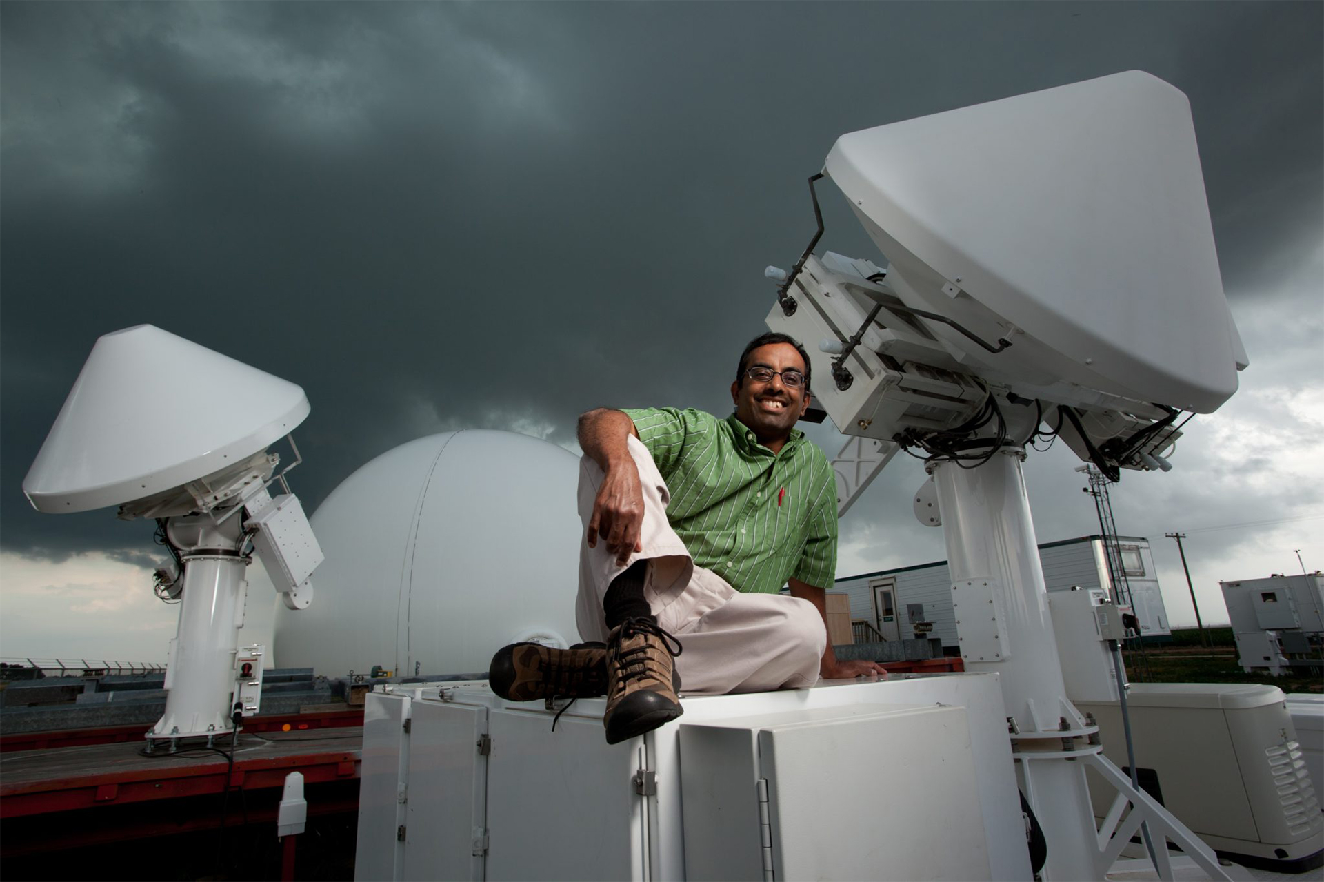 Professor Chandra with weather radar