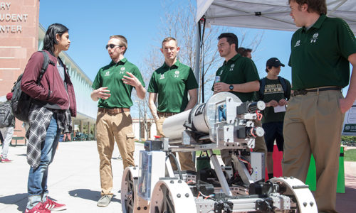 Engineering seniors present their Senior Design Projects to the public at E-Day, sponsored by the Walter Scott Jr. College of Engineering at Colorado State University. April 19, 2019.