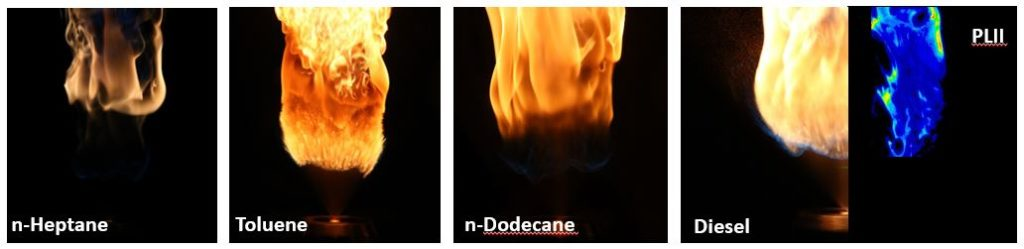 Different fuel molecules affect the intensity and color of the flame throughout the process. Photo courtesy Bret Windom