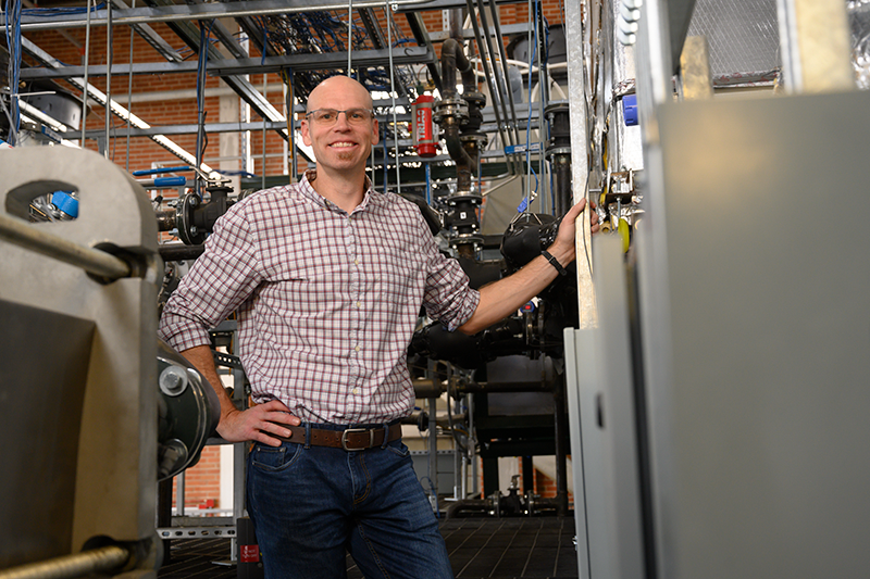 Todd Bandhauer, Associate Professor of Mechanical Engineering, in his laboratory at the CSU Energy Institute.