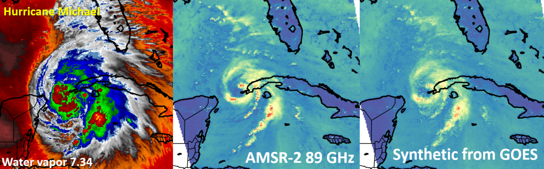 GOES, microwave and synthetic images of Hurricane Michael