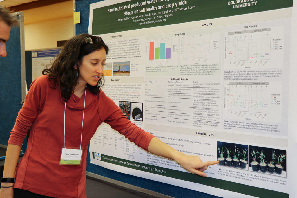 Hannah Miller presents her research at Hydrology Days in 2019.