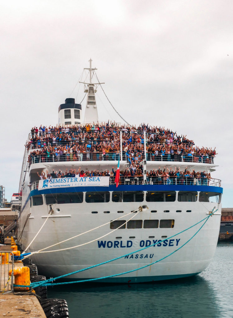 Semester at Sea participants wave farewell before disembarking March 14 in Cape Town, South Africa.