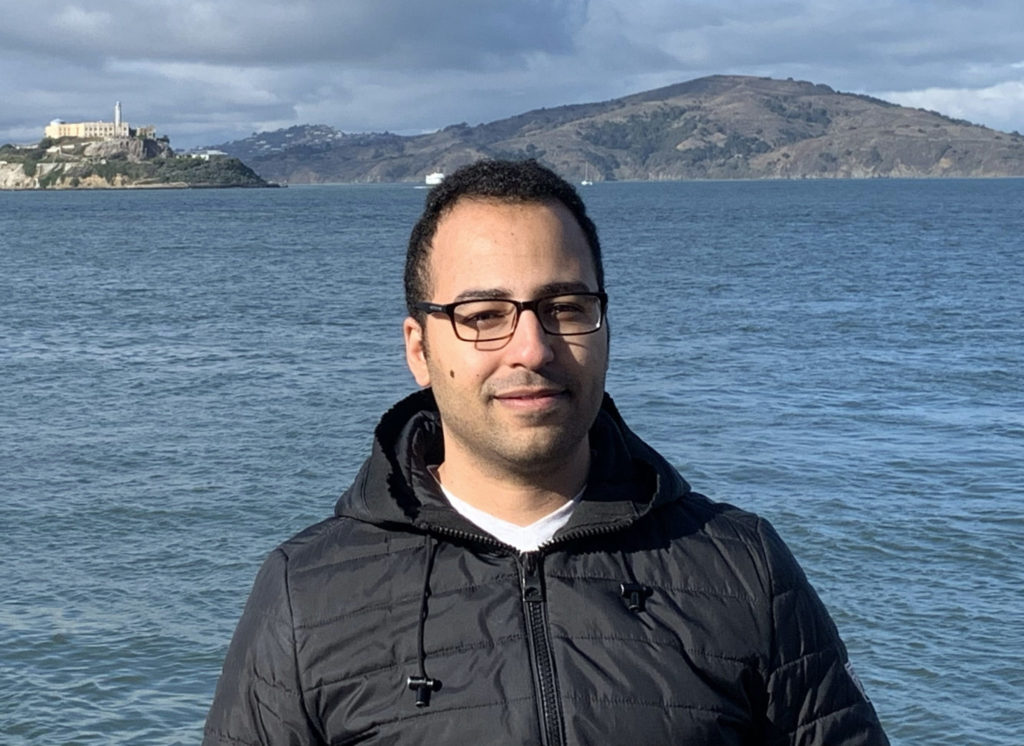 Ph.D. candidate Emad Hassan in San Francisco during the American Geophysical Union's 2019 Fall Meeting.