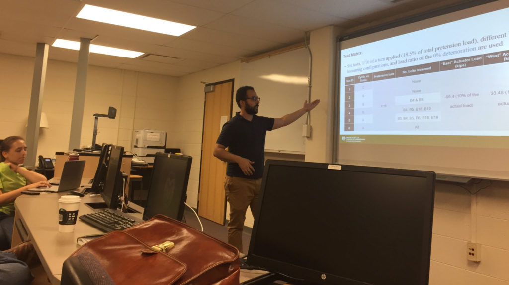 Emad Hassan updates U.S. Army Corps of Engineers researchers on the testing and analysis he performed for them.