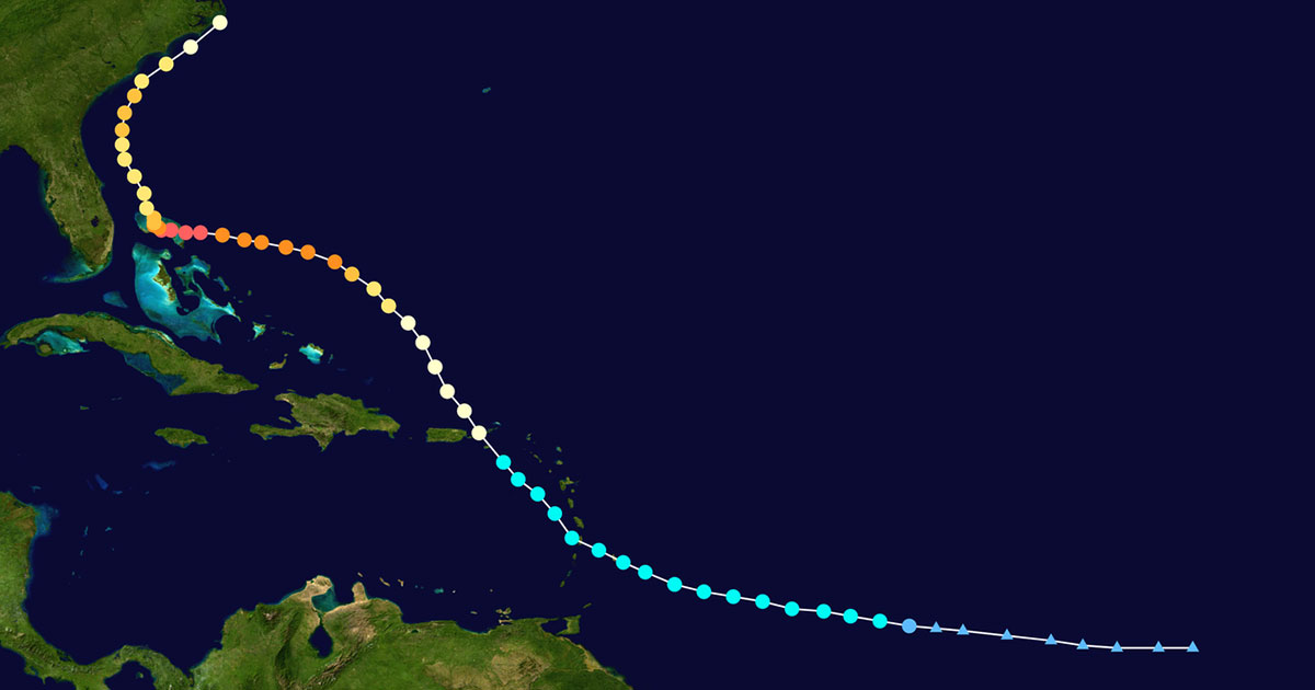 track of hurricane dorian