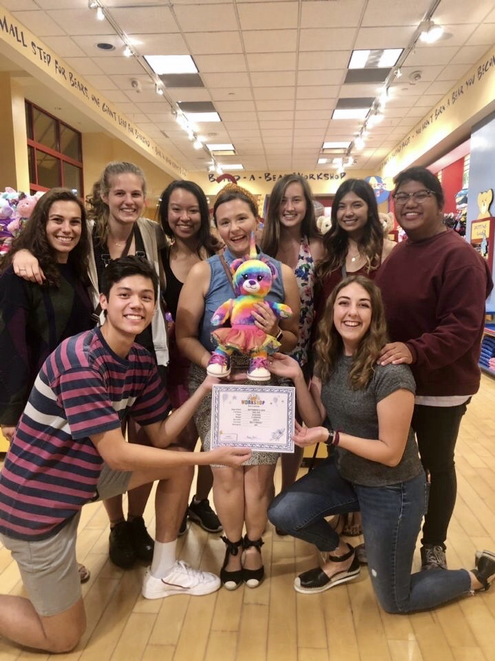 Goldring with engineering students at a Build-a-Bear workshop.