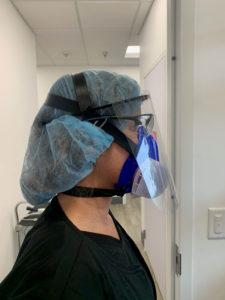 dentist wearing face shield
