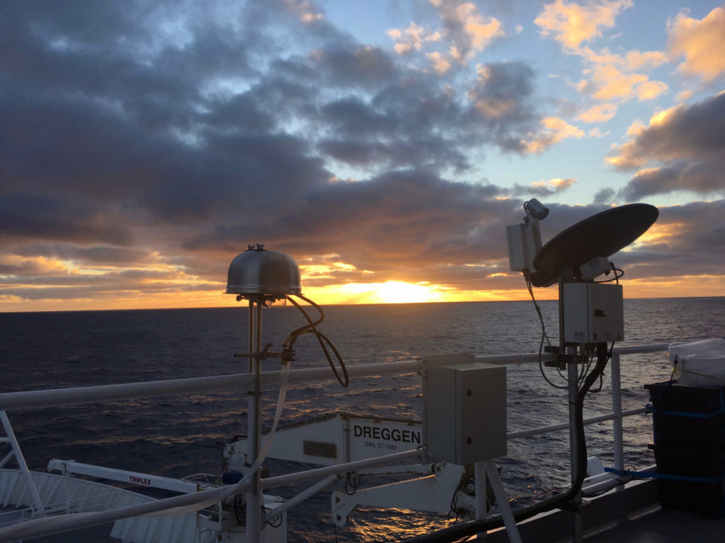 : Aerosol filter samplers probe the air over the Southern Ocean on the Australian Marine National Facility's R/V Investigator. Photo by Kathryn Moore.