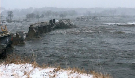 Spencer Dam is pictured shortly after it failed March 14, 2019. Photo courtesy of Nebraska Public Power District