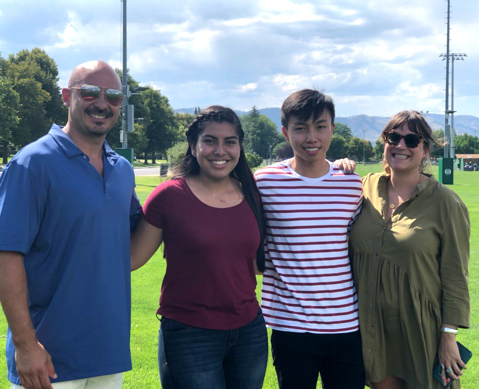 Marco Campos with Karia Del Toro Garza and Eric Altanochir, students who have benefited from the Campos EPC Scholarship, and Chloe Capin from Campos EPC.