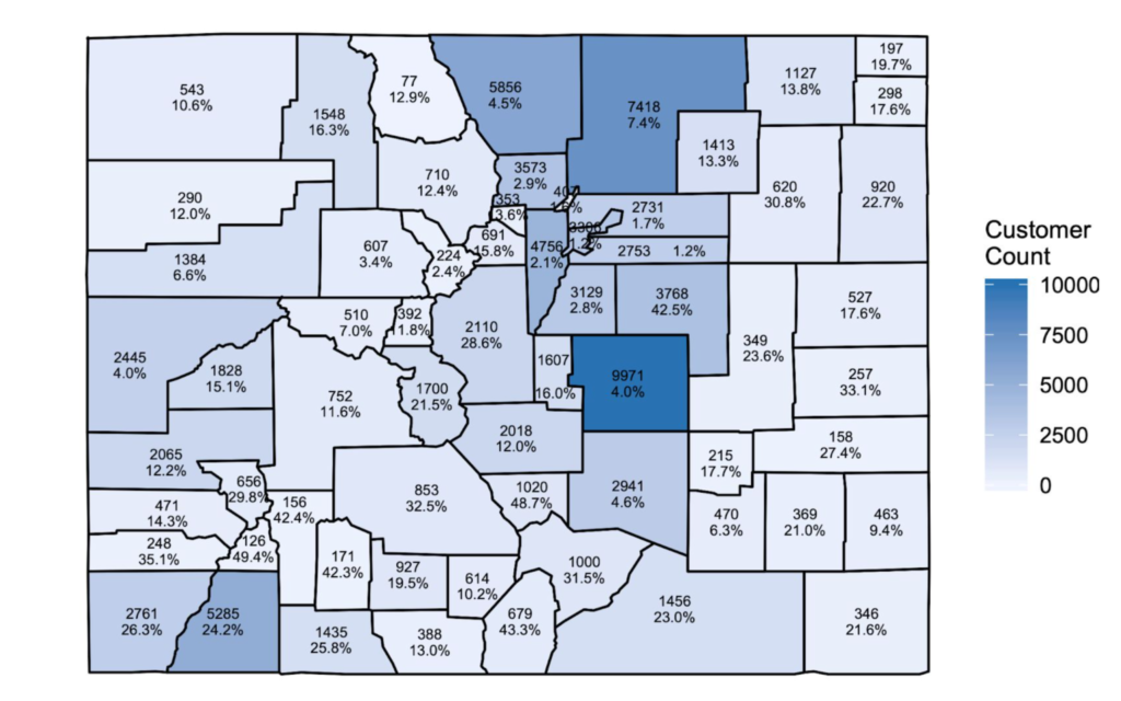 Percentage Of Propane Customers In Colorado By County