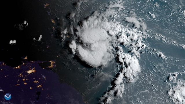 GeoColor image of the formation of Hurricane Dorian, showing the daytime/nighttime capabilities of the CIRA GeoColor product. Credit: CSU/CIRA and NOAA/NESDIS