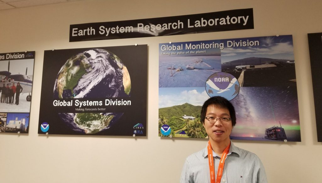 Picture of Haonan Chen, assistant professor of Electrical and Computer Engineering, in the Earth System Research Laboratory.