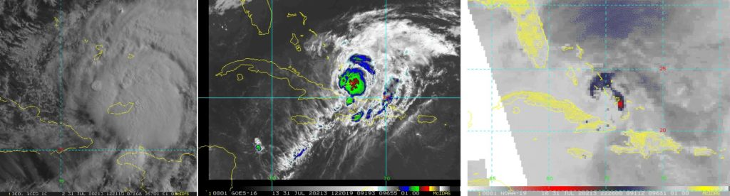 Visible (left), infrared (middle), and microwave (right) image of Hurricane Isaias from July 31, 2020. Microwave imagery is extremely helpful in determining internal structure of tropical storms, but has inconsistent coverage of individual storms. AI techniques are allowing the use of consistent visible and IR images to recreate the microwave imagery. (credit: RAMMB/CIRA/CSU)