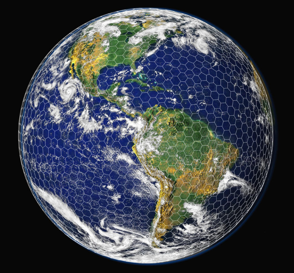 This graphic shows a coarse version of the EarthWorks grid superimposed on an image of the Earth. The actual EarthWorks grid will be much finer than this, with grid spacing about 100 times smaller than what is shown here. Credit: Bill Skamarock/NCAR