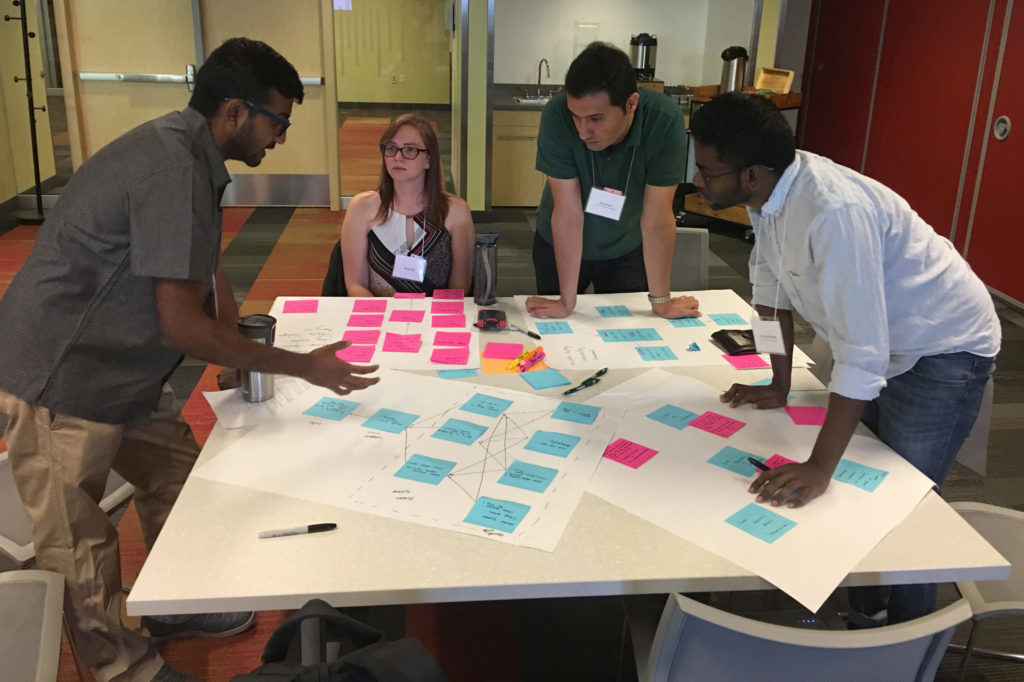 OWSI students, from left, Cibi Chinnasamy, Noelle Fillo, Hadi Heidari and Alfy Joseph-George participate in an interdisciplinary research communications workshop during summer 2019.