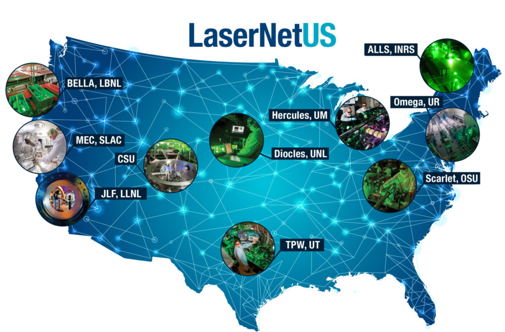 A map showing the LaserNet US facilities.