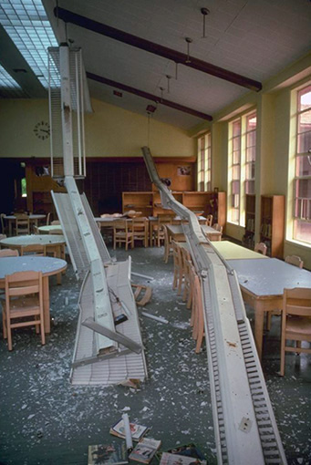 This Dawson Elementary School classroom in Coalinga, California, was damaged in the 1983 Coalinga earthquake. Courtesy of the U.S. Geological Survey