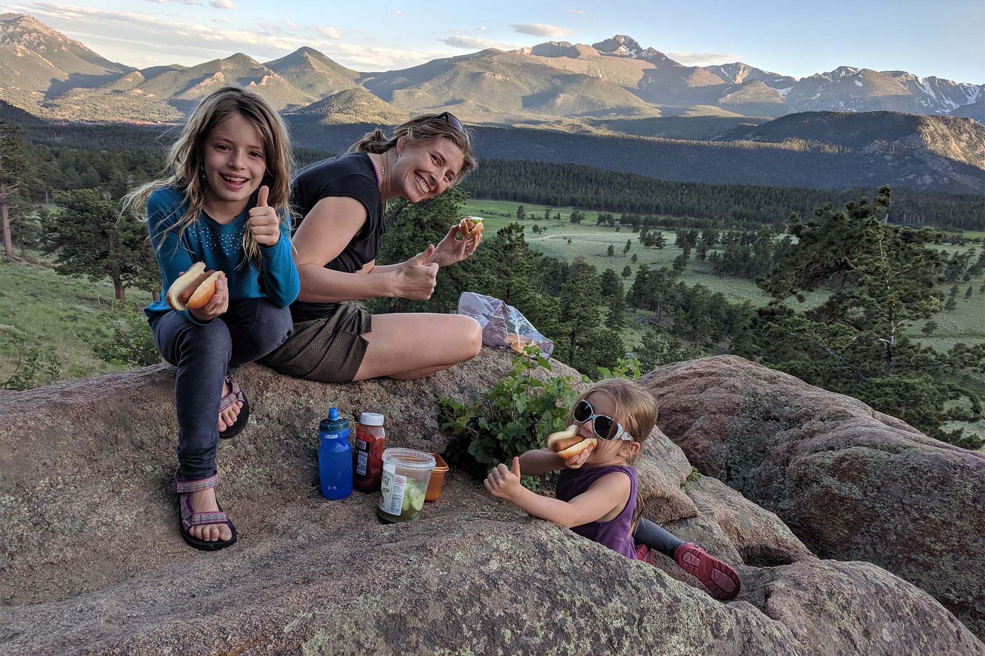 Emily Fischer and daughters at Rocky Mountain National Park