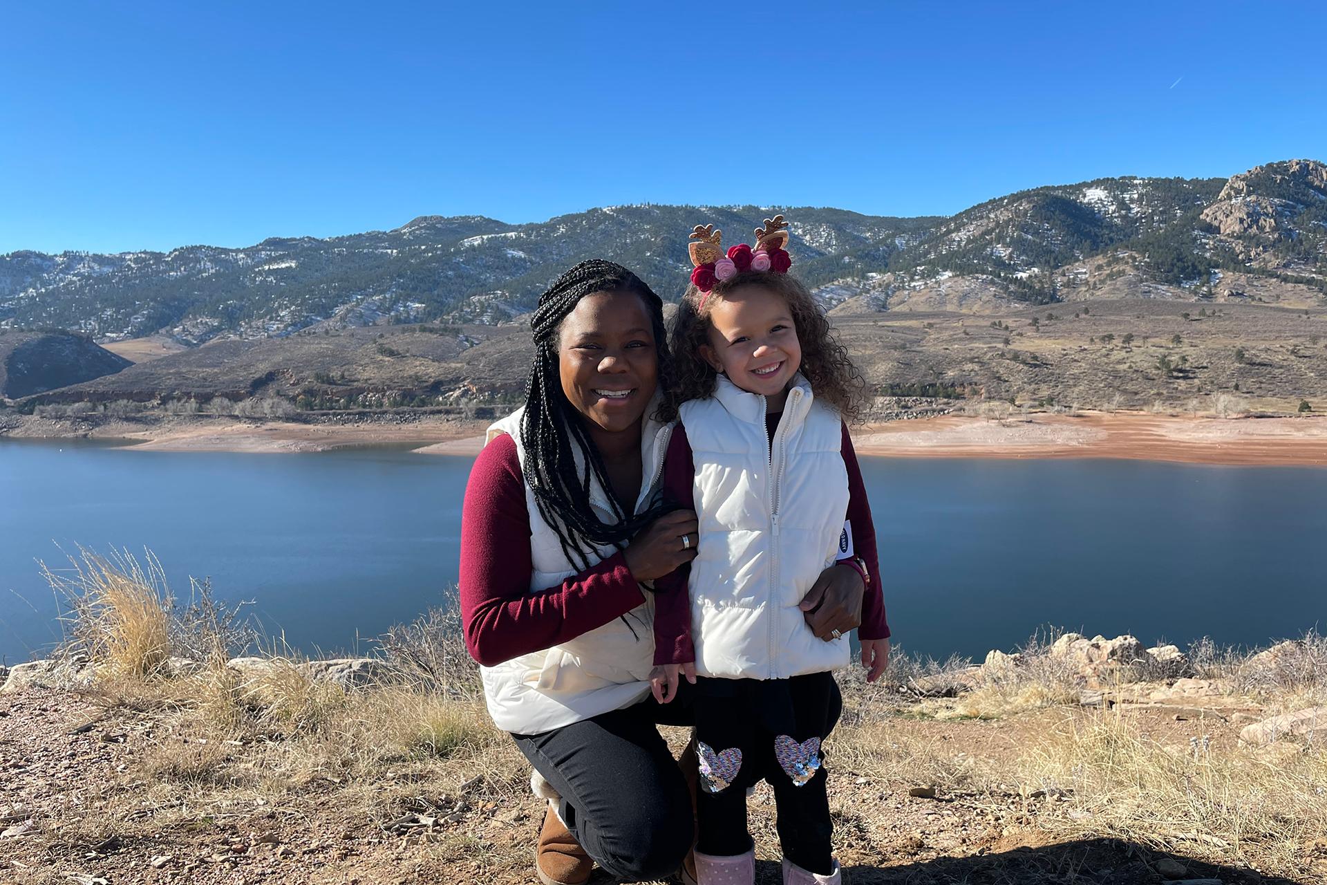 Melissa Burt and her daughter at Horsetooth Reservoir