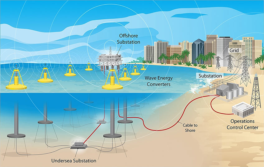 NREL Wave Array Illustration, showing multiple wave energy converters, connected to substations on- and off-shore.
