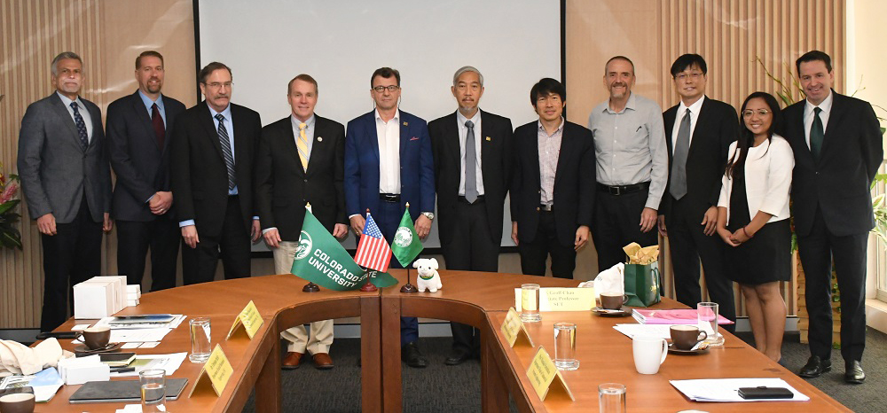 Walter Scott, Jr. College of Engineering representatives, left, meet with Asian Institute of Technology officials in January 2020 in Bangkok to kick off discussions on a dual degree master's program. Courtesy of AIT