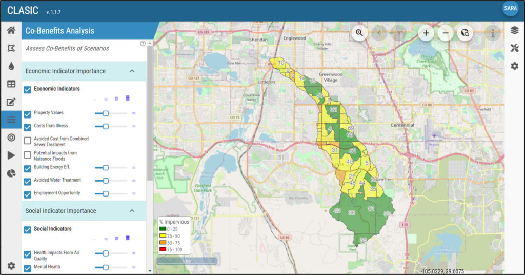 The CLASIC tool works with GIS to make it easy for users to explore stormwater management options for a selected area.