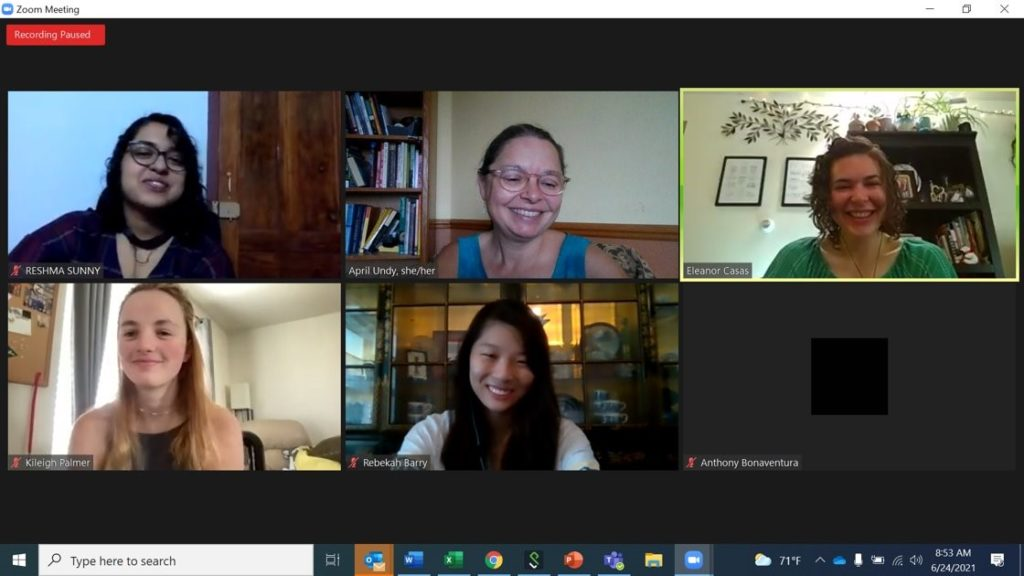 A photo of four people in the ENcourage Engineering Math Program from Zoom