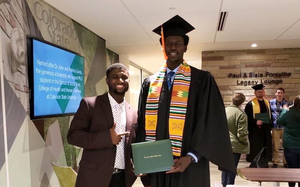 Ousman Ba and Djibril Diol at Diol's CSU graduation ceremony in 2018