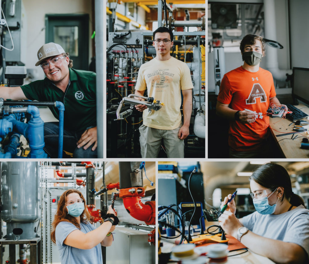 Collage of summer research interns in their laboratories